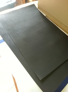 Spray painted poster board black. I'll just get black poster board next time.